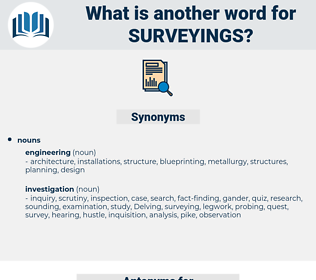 surveyings, synonym surveyings, another word for surveyings, words like surveyings, thesaurus surveyings