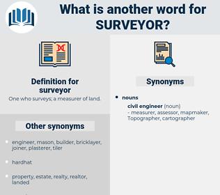 surveyor, synonym surveyor, another word for surveyor, words like surveyor, thesaurus surveyor