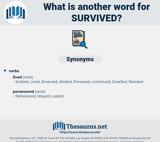 Survived, synonym Survived, another word for Survived, words like Survived, thesaurus Survived