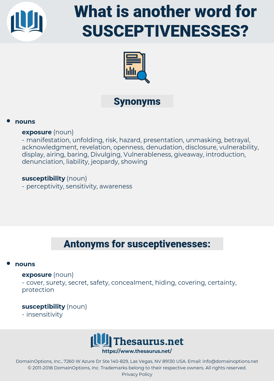 susceptivenesses, synonym susceptivenesses, another word for susceptivenesses, words like susceptivenesses, thesaurus susceptivenesses