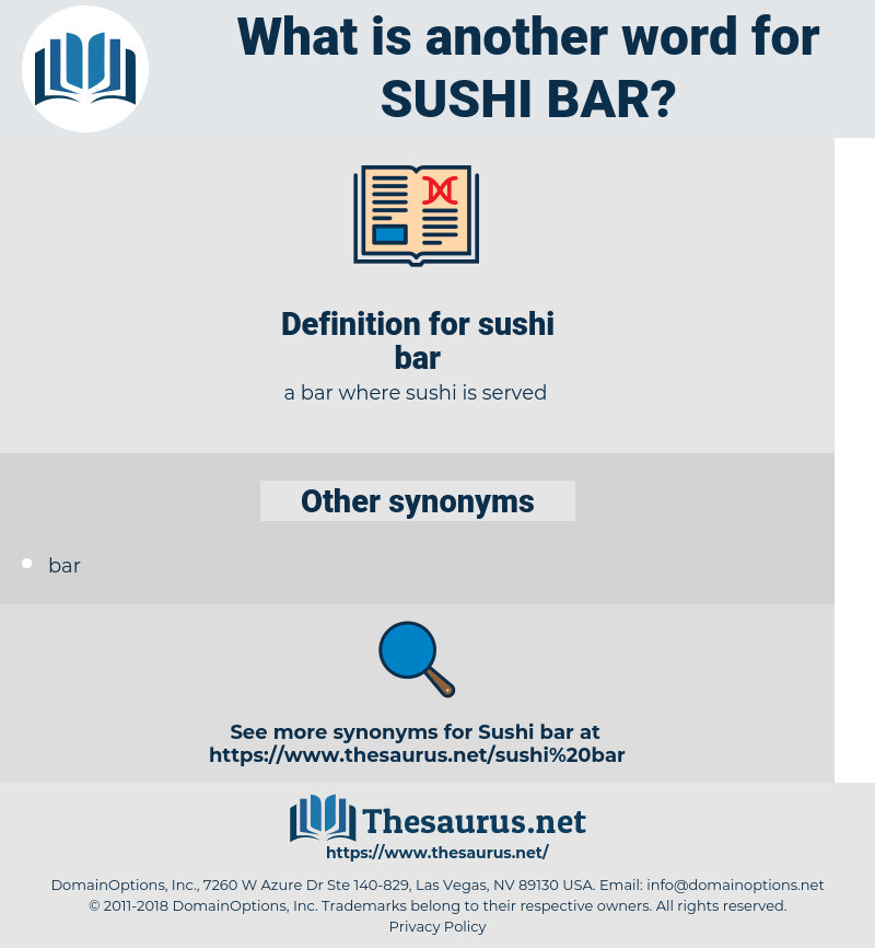 sushi bar, synonym sushi bar, another word for sushi bar, words like sushi bar, thesaurus sushi bar