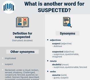 suspected, synonym suspected, another word for suspected, words like suspected, thesaurus suspected