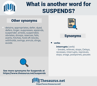 suspends, synonym suspends, another word for suspends, words like suspends, thesaurus suspends
