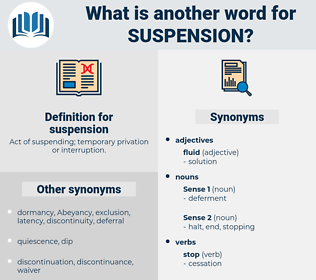 suspension, synonym suspension, another word for suspension, words like suspension, thesaurus suspension