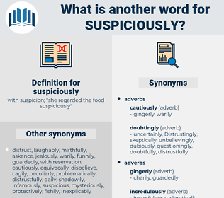 suspiciously, synonym suspiciously, another word for suspiciously, words like suspiciously, thesaurus suspiciously