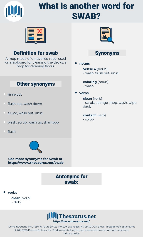 swab, synonym swab, another word for swab, words like swab, thesaurus swab