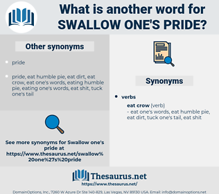 swallow one's pride, synonym swallow one's pride, another word for swallow one's pride, words like swallow one's pride, thesaurus swallow one's pride