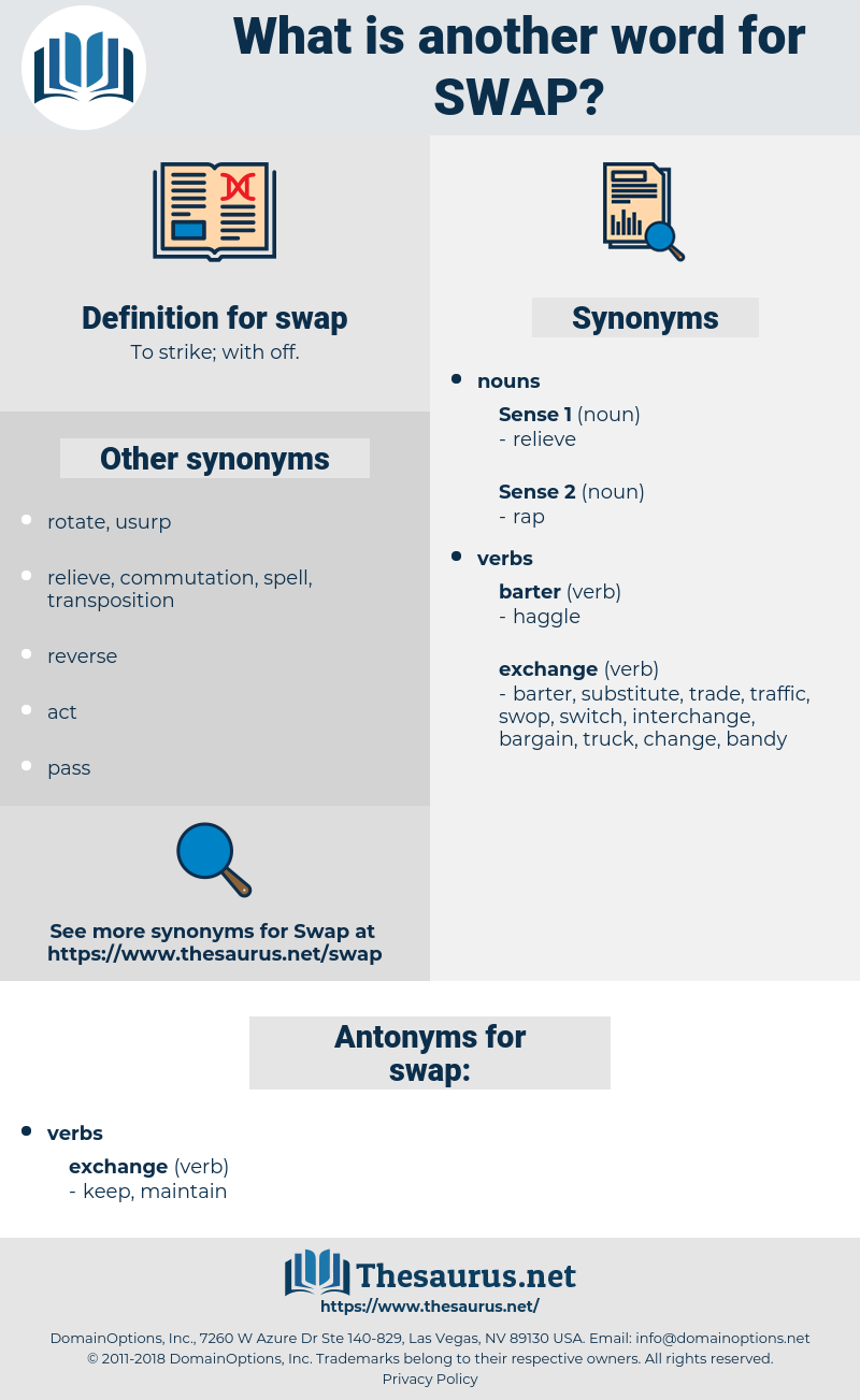swap, synonym swap, another word for swap, words like swap, thesaurus swap