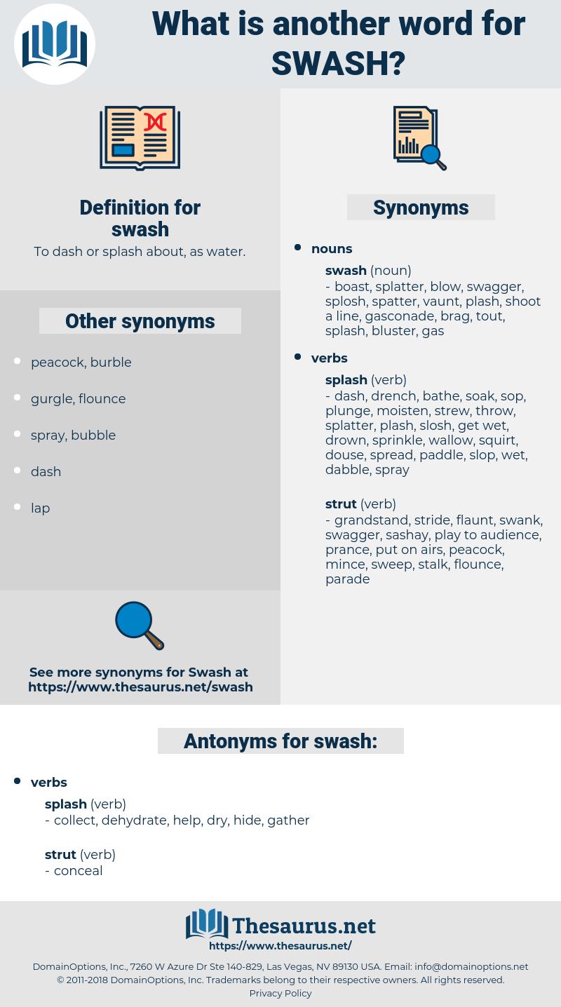 swash, synonym swash, another word for swash, words like swash, thesaurus swash