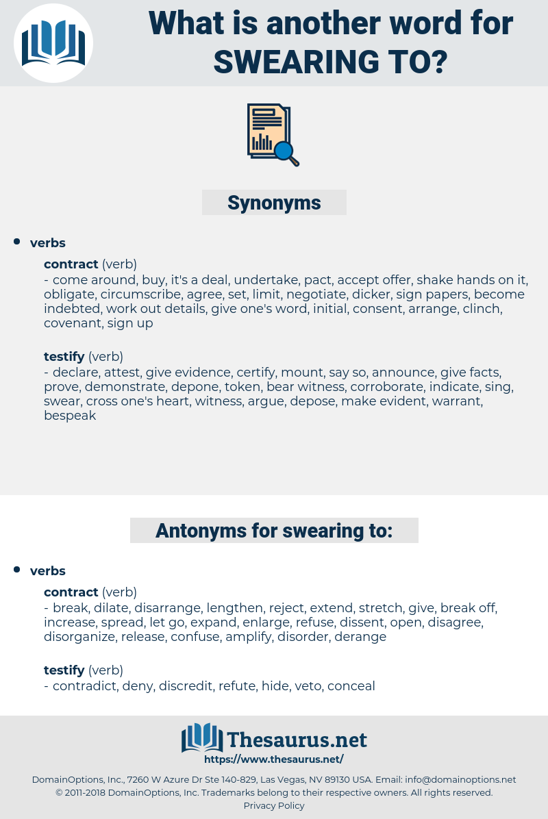swearing to, synonym swearing to, another word for swearing to, words like swearing to, thesaurus swearing to