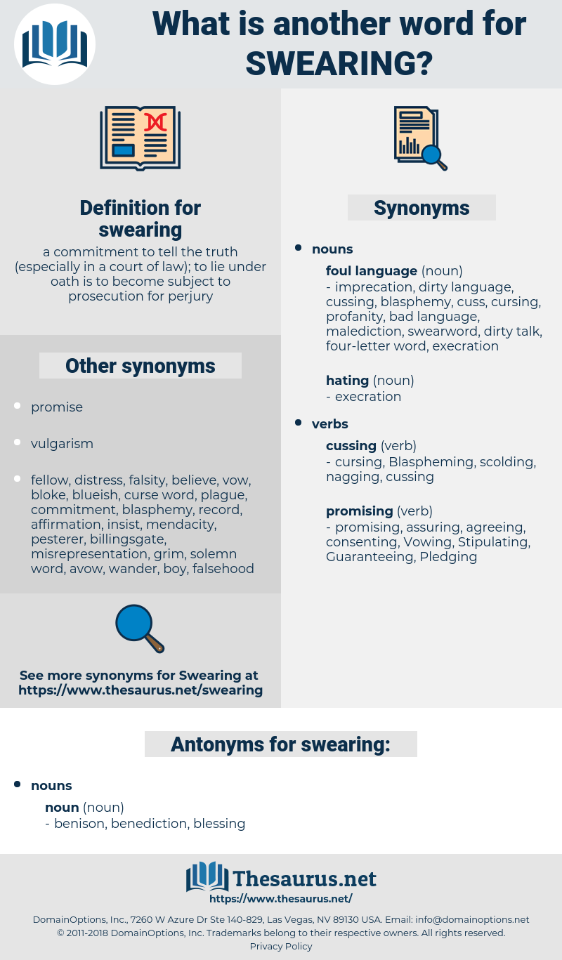 swearing, synonym swearing, another word for swearing, words like swearing, thesaurus swearing