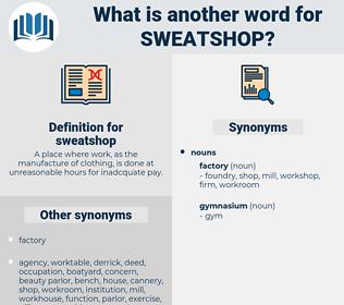 sweatshop, synonym sweatshop, another word for sweatshop, words like sweatshop, thesaurus sweatshop