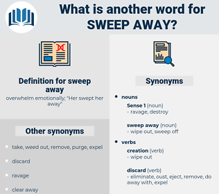 sweep away, synonym sweep away, another word for sweep away, words like sweep away, thesaurus sweep away