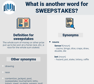 sweepstakes, synonym sweepstakes, another word for sweepstakes, words like sweepstakes, thesaurus sweepstakes