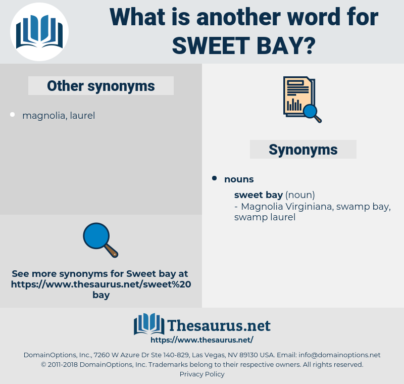 sweet bay, synonym sweet bay, another word for sweet bay, words like sweet bay, thesaurus sweet bay