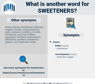 Sweeteners, synonym Sweeteners, another word for Sweeteners, words like Sweeteners, thesaurus Sweeteners