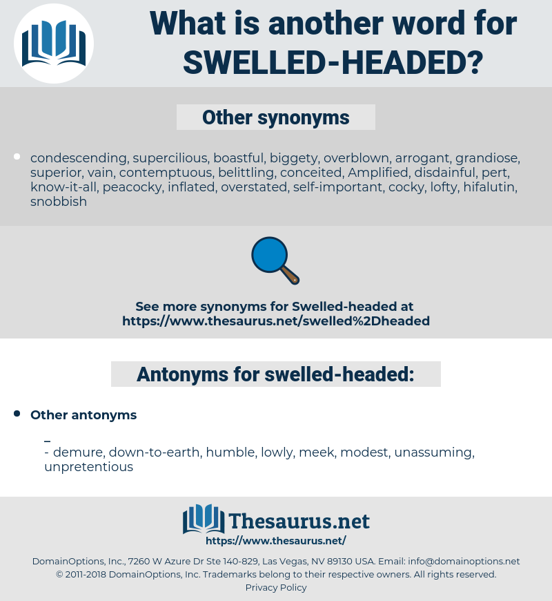 swelled-headed, synonym swelled-headed, another word for swelled-headed, words like swelled-headed, thesaurus swelled-headed
