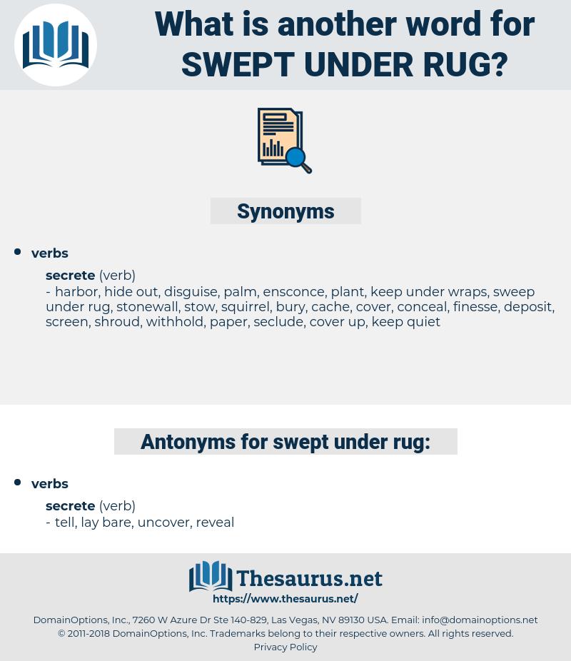 swept under rug, synonym swept under rug, another word for swept under rug, words like swept under rug, thesaurus swept under rug