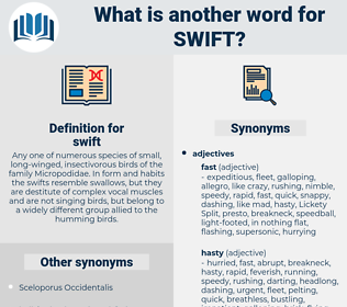 swift, synonym swift, another word for swift, words like swift, thesaurus swift