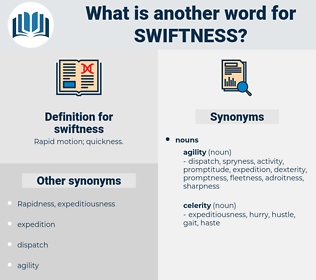swiftness, synonym swiftness, another word for swiftness, words like swiftness, thesaurus swiftness