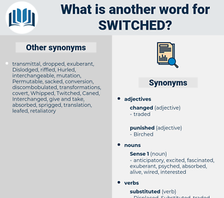 Switched, synonym Switched, another word for Switched, words like Switched, thesaurus Switched