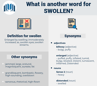 swollen, synonym swollen, another word for swollen, words like swollen, thesaurus swollen