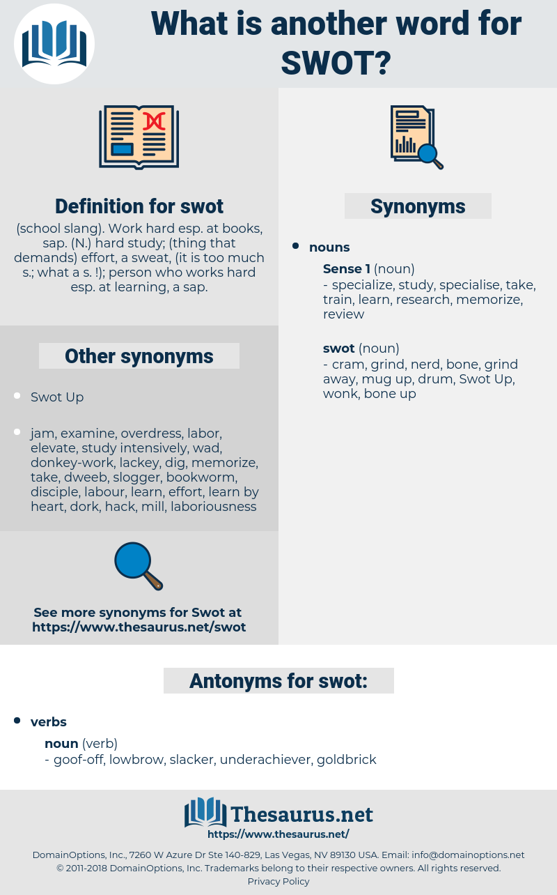 swot, synonym swot, another word for swot, words like swot, thesaurus swot