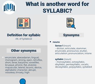 syllabic, synonym syllabic, another word for syllabic, words like syllabic, thesaurus syllabic