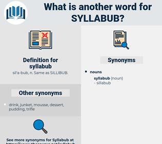 syllabub, synonym syllabub, another word for syllabub, words like syllabub, thesaurus syllabub