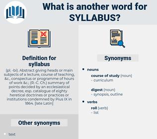 syllabus, synonym syllabus, another word for syllabus, words like syllabus, thesaurus syllabus