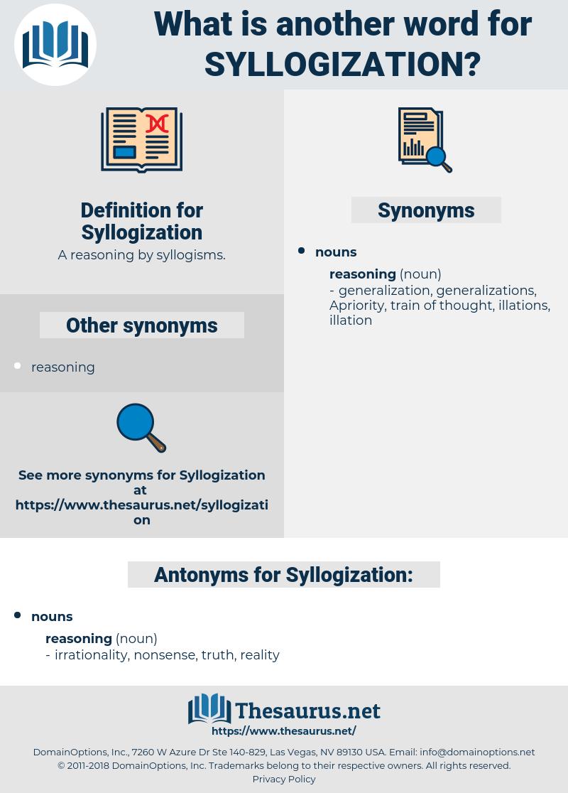 Syllogization, synonym Syllogization, another word for Syllogization, words like Syllogization, thesaurus Syllogization