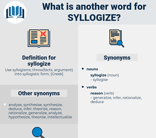 syllogize, synonym syllogize, another word for syllogize, words like syllogize, thesaurus syllogize