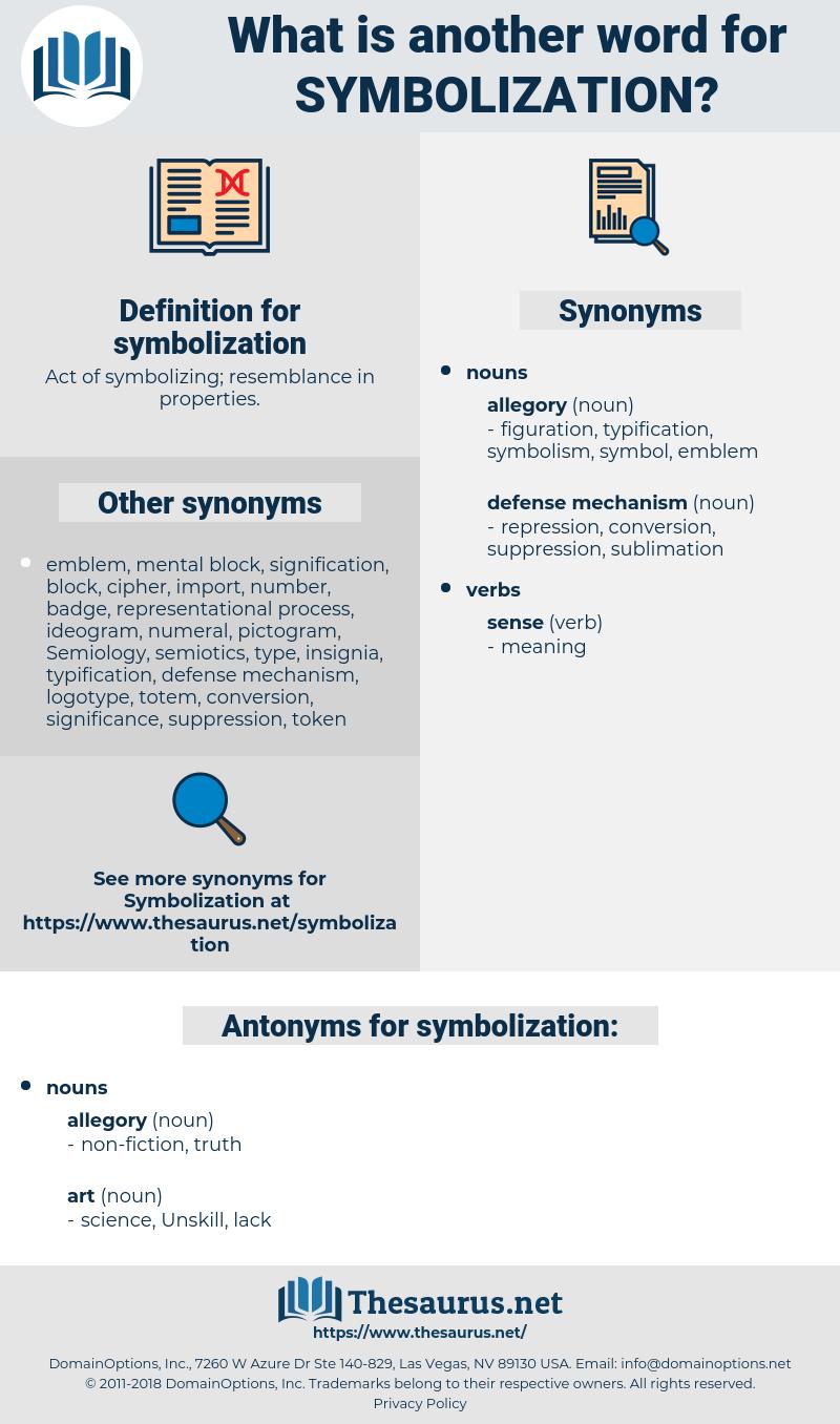 symbolization, synonym symbolization, another word for symbolization, words like symbolization, thesaurus symbolization