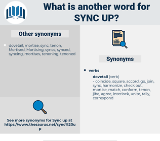 sync up, synonym sync up, another word for sync up, words like sync up, thesaurus sync up