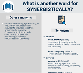 synergistically, synonym synergistically, another word for synergistically, words like synergistically, thesaurus synergistically