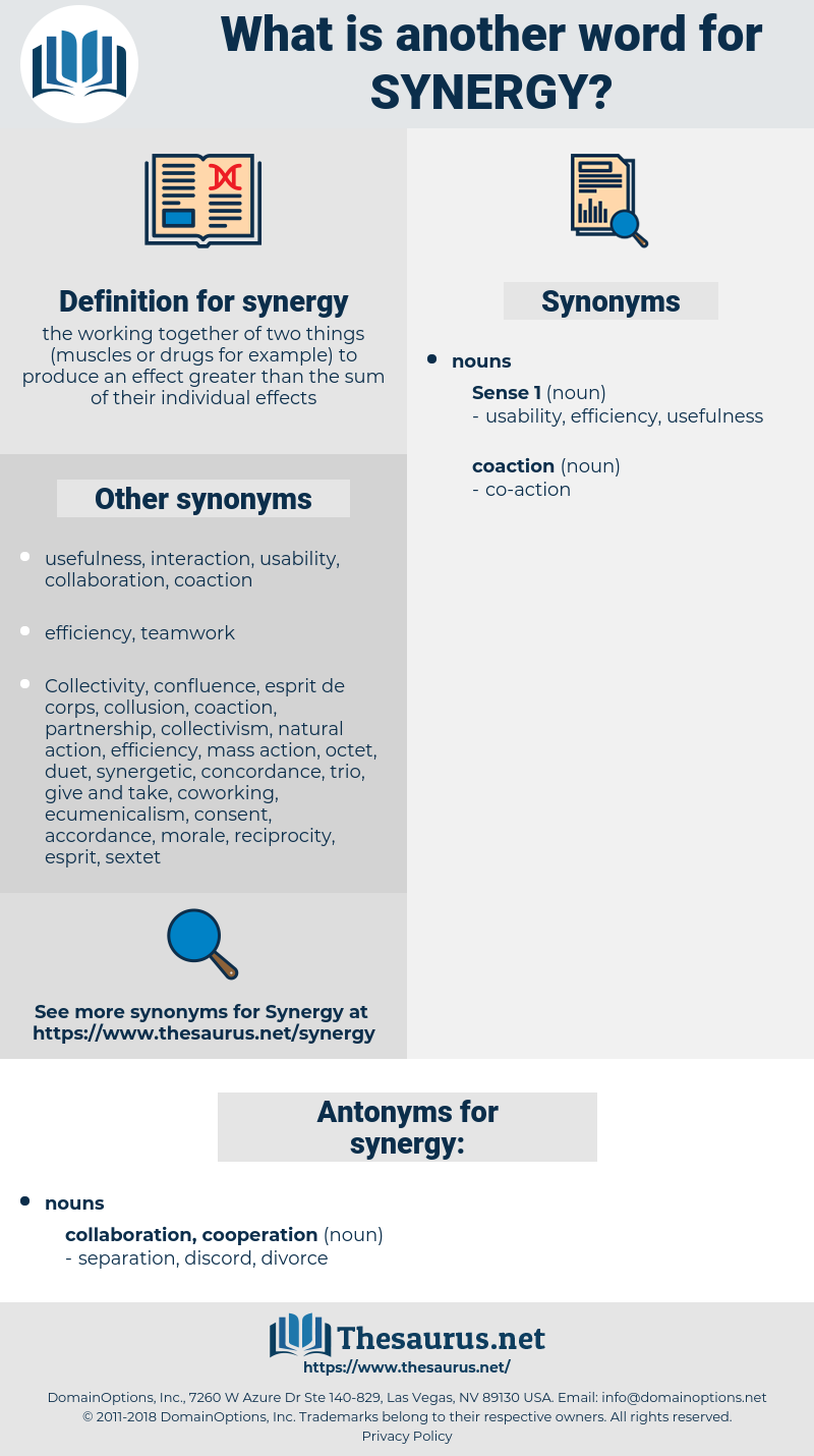 Synonyms for SYNERGY, Antonyms for SYNERGY - Thesaurus net