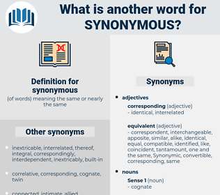 synonymous, synonym synonymous, another word for synonymous, words like synonymous, thesaurus synonymous