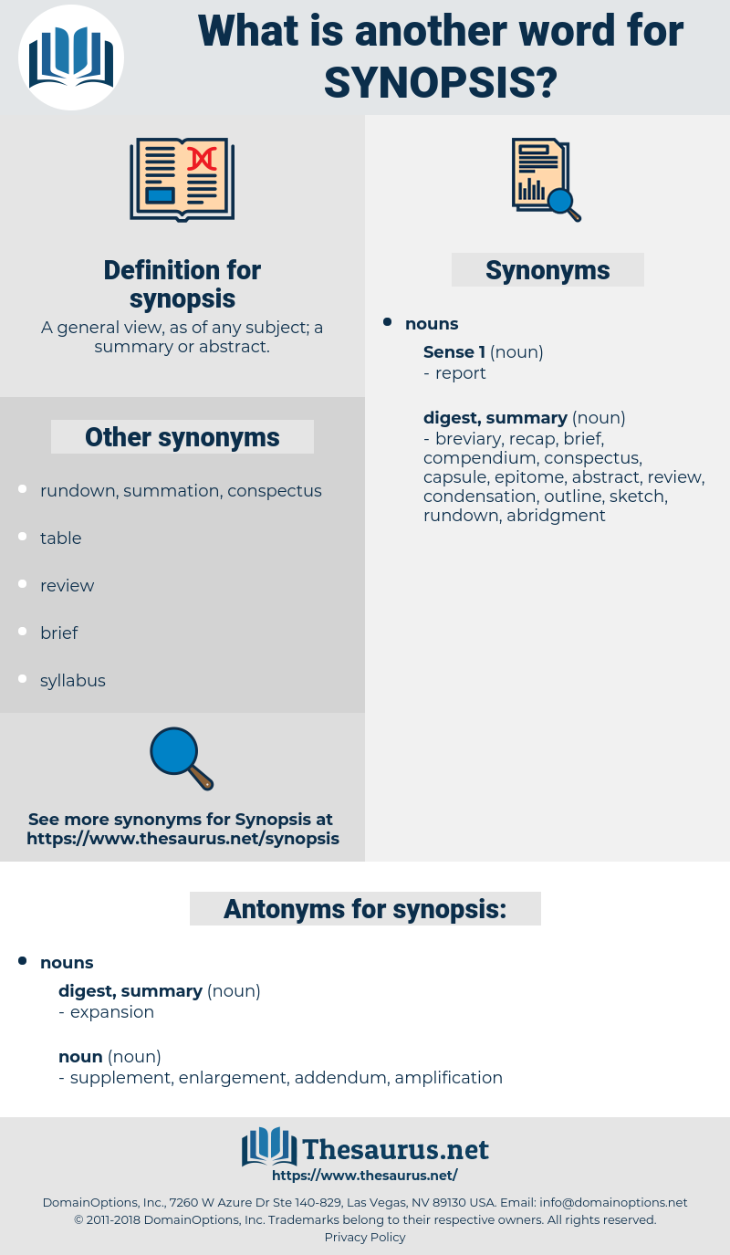 synopsis, synonym synopsis, another word for synopsis, words like synopsis, thesaurus synopsis