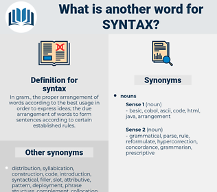 syntax, synonym syntax, another word for syntax, words like syntax, thesaurus syntax