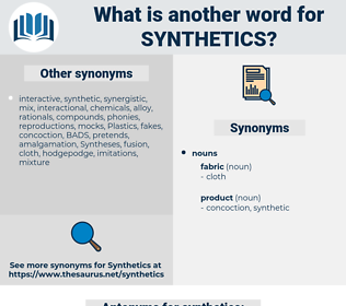 synthetics, synonym synthetics, another word for synthetics, words like synthetics, thesaurus synthetics