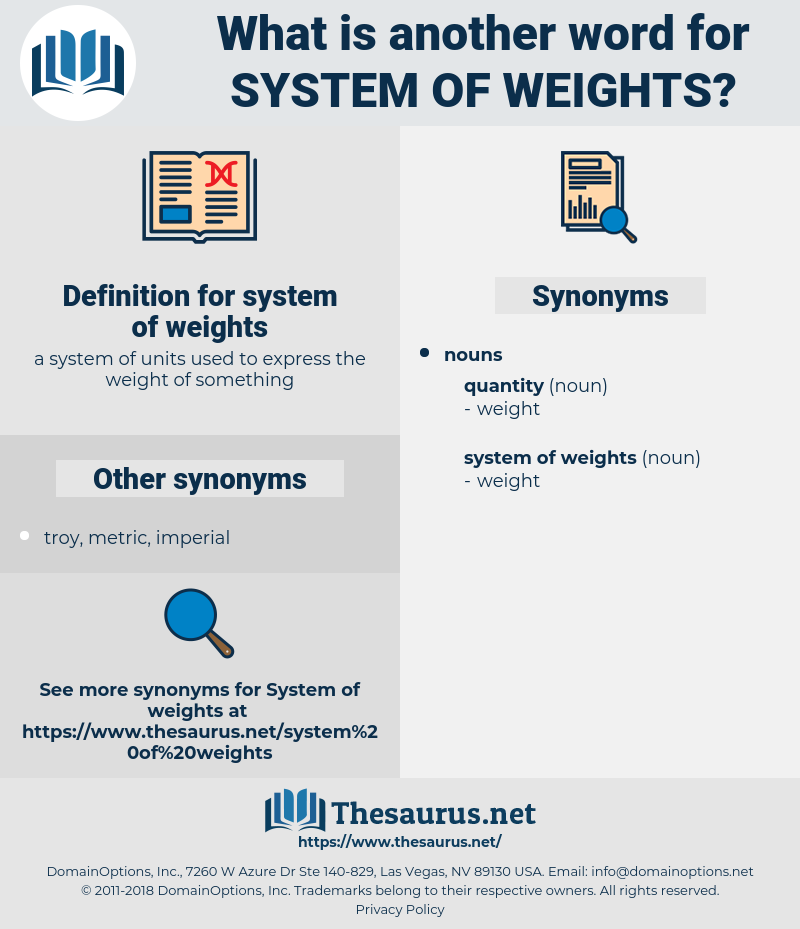 system of weights, synonym system of weights, another word for system of weights, words like system of weights, thesaurus system of weights