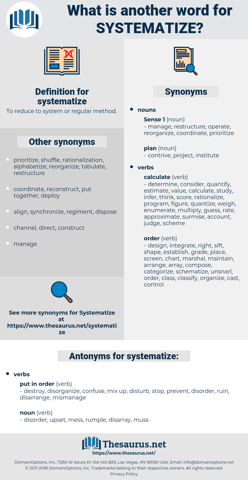 systematize, synonym systematize, another word for systematize, words like systematize, thesaurus systematize