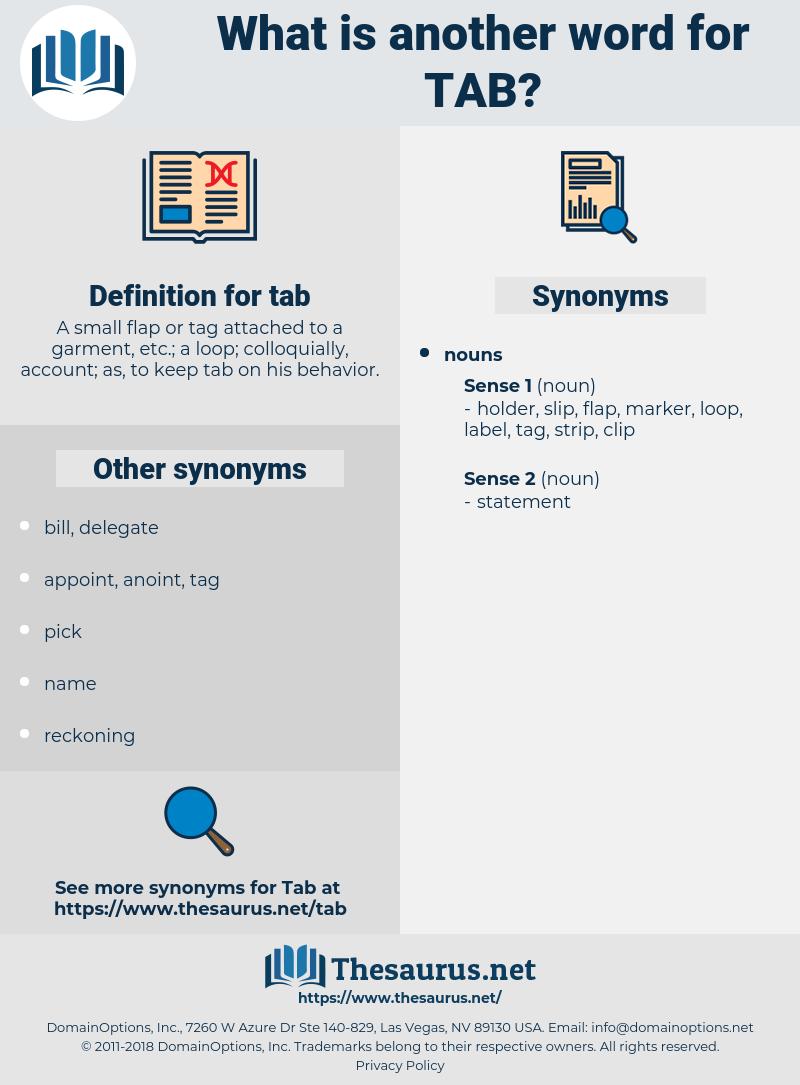 tab, synonym tab, another word for tab, words like tab, thesaurus tab