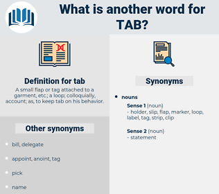 tab, synonym tab, another word for tab, words like tab, thesaurus tab