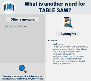 table saw, synonym table saw, another word for table saw, words like table saw, thesaurus table saw