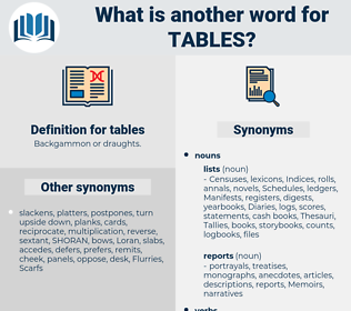 tables, synonym tables, another word for tables, words like tables, thesaurus tables