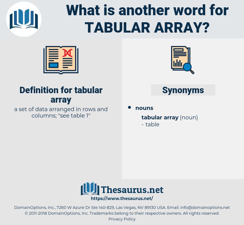 tabular array, synonym tabular array, another word for tabular array, words like tabular array, thesaurus tabular array