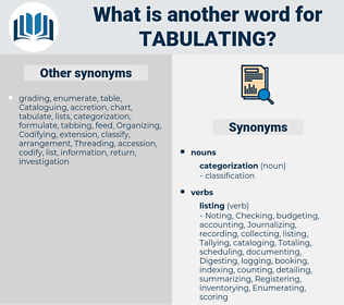 Tabulating, synonym Tabulating, another word for Tabulating, words like Tabulating, thesaurus Tabulating