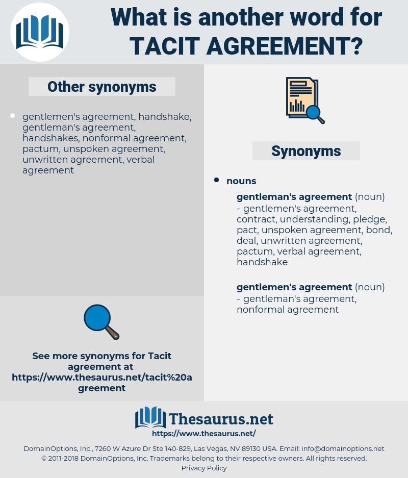 tacit agreement, synonym tacit agreement, another word for tacit agreement, words like tacit agreement, thesaurus tacit agreement