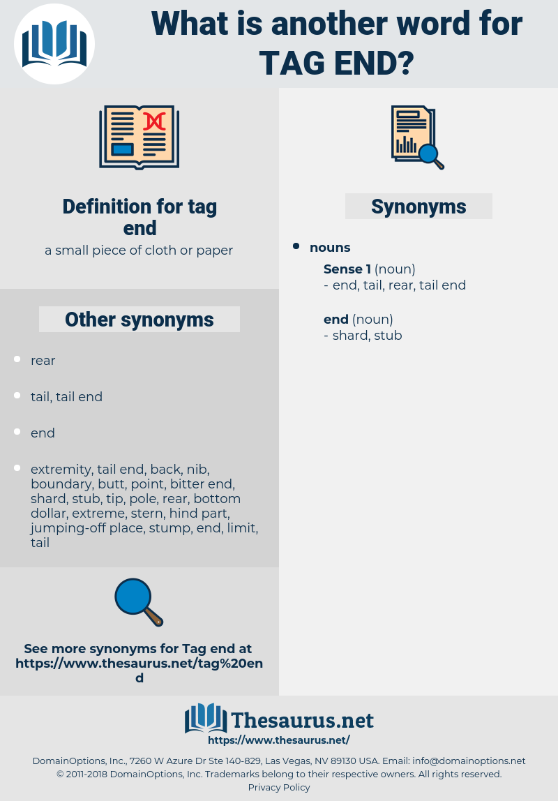tag end, synonym tag end, another word for tag end, words like tag end, thesaurus tag end